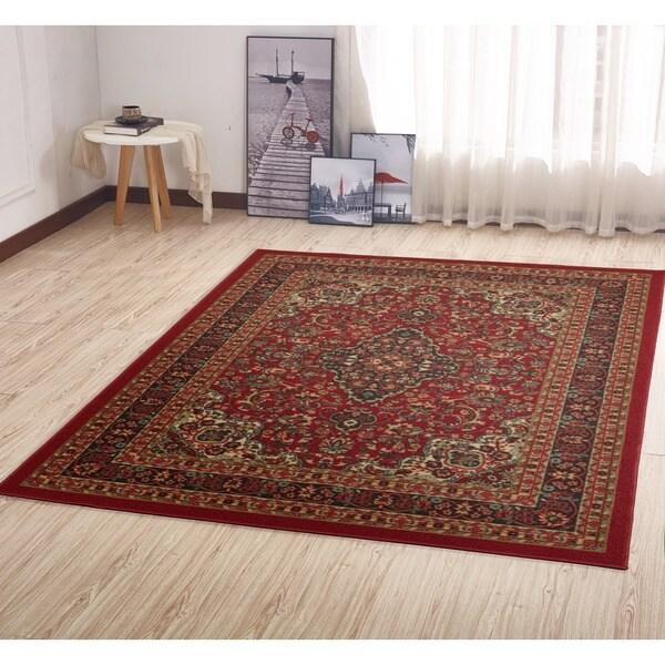 Ottomanson Ottohome Collection Persian Heriz Oriental Design Non-skid Non-slip Rubber Backing Area Rug (3'3 x 5')