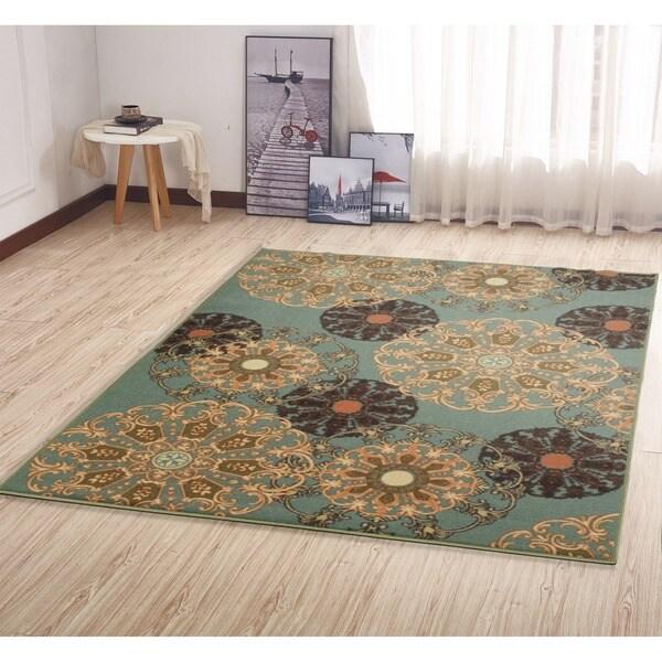 Shop Ottohome Damask Design Non Slip Rubber Backing Area Rug 3 3