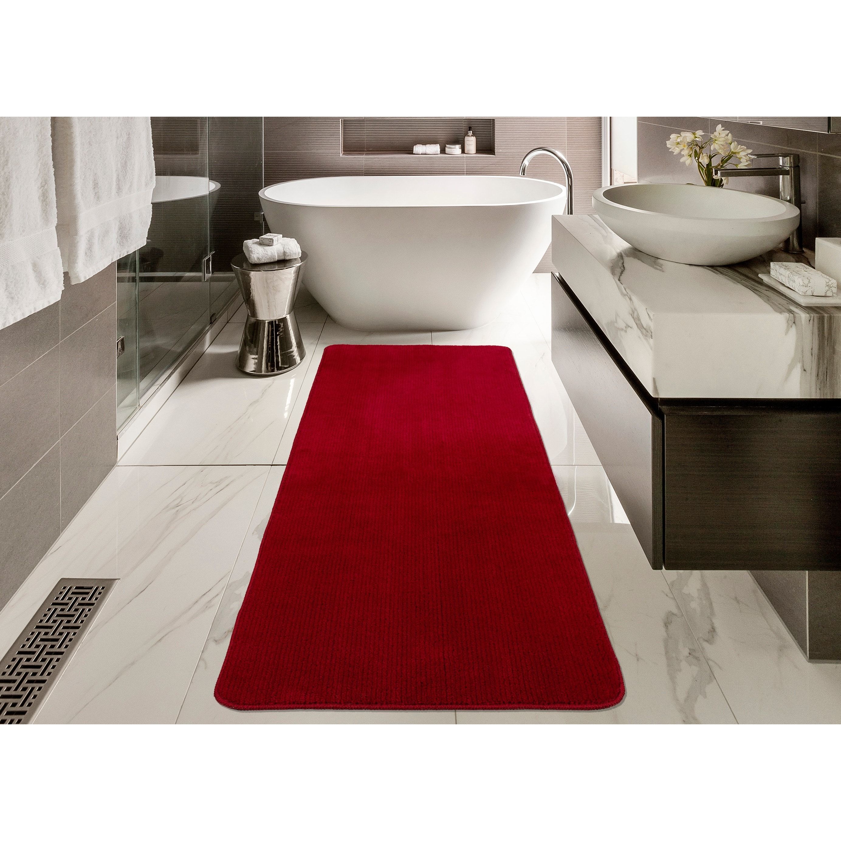 Softy Solid Red Non Slip Rubber Backing