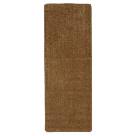 Ottomanson Softy Solid Camel Non-slip Bathroom Mat Rug