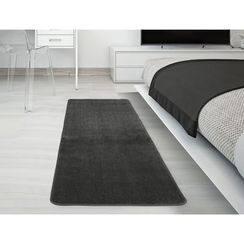 Ottomanson Softy Solid Grey Non-slip Rubber Back Bathroom Mat Rug
