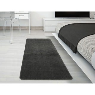 Ottomanson Softy Collection Grey Solid Machine-washable Non-slip Bathroom Mat Rug (3 options available)