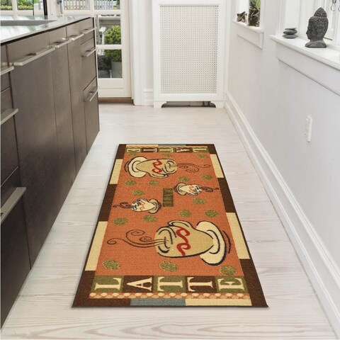 "Ottomanson Sara's Kitchen Dark Orange Kitchen Collection Coffee Cups Design Runner Rug (1'8 x 4'11) - 20"" x 59"""