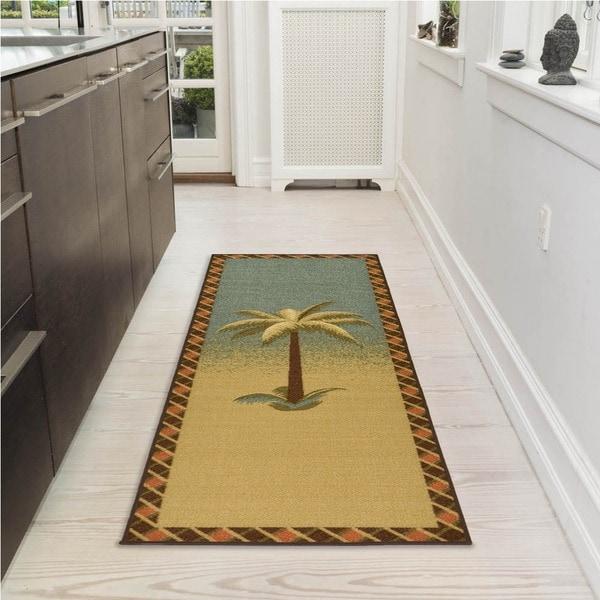 Shop Ottomanson Sara S Collection Sage Palm Tree Design