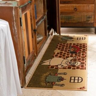 Ottomanson Sara's Kitchen Beige Kitchen Collection Chef Design Runner Rug (1'8 x 4'11)
