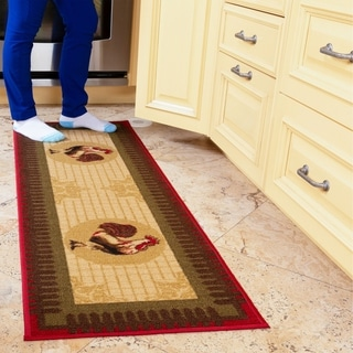 Ottomanson Siesta Collection Beige Kitchen Collection Rooster Design Runner Rug  (1'8 x 4'11)