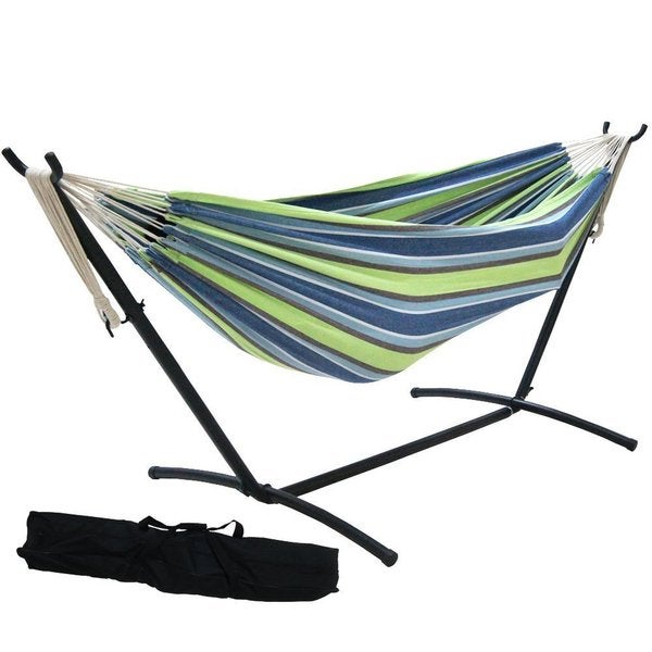 Prime Garden 9 Foot Double Hammock With Space Saving Steel Hammock Stand