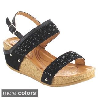LINK RENE-20K Girl's Glittering Ankle Strap Sling Back Platform Wedge Sandals