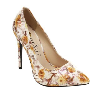 Machi MIYA-3 Women Floral Pointed Toe Slip On Stiletto High Heels