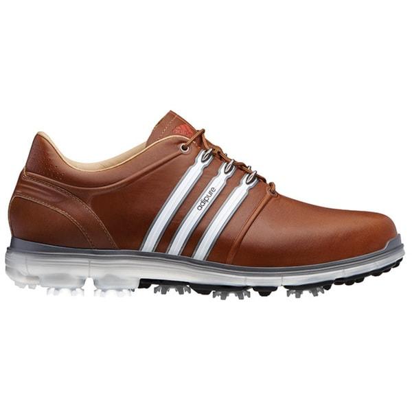 Adidas Men's Pure 360 Tan Brown/ White/ Dark Solar Blue Golf Shoes