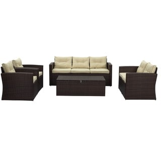 Rio 5-piece 7-seat Dark Brown All-weather Wicker storage Conversation Set