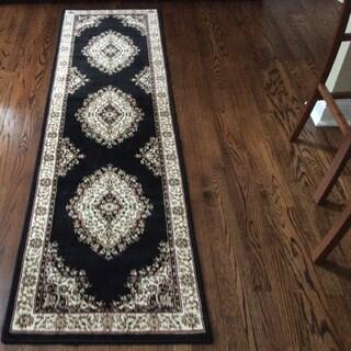 Admire Home Living Amalfi Medallion Black Runner Rug (2'2 x 7'7)