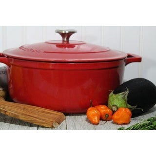 Cast Iron Round 6.6-quart Casserole, Red