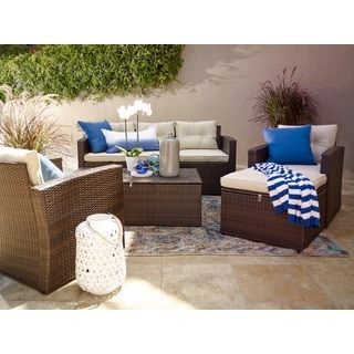 Rio 4-piece 5-seat Dark Brown All-weather Wicker storage Conversation Set