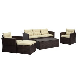 Rio 5-piece 5-seat Dark Brown All-weather Wicker Conversation Set