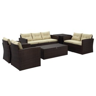 Rio 6-piece 7-seat Dark Brown All-weather Wicker storage Conversation Set