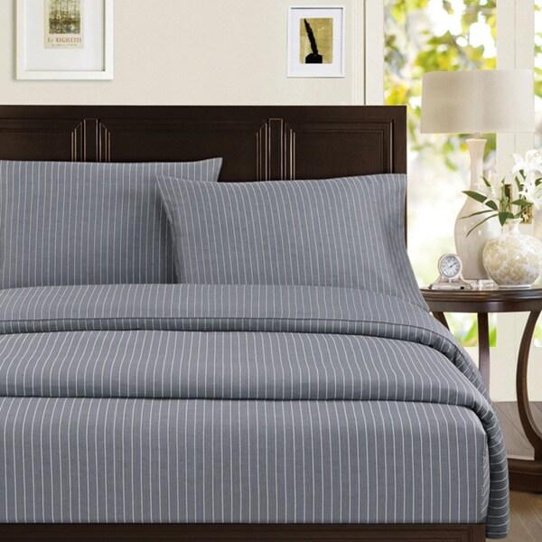 Echelon Home Pinstripe Cotton Sheet Set