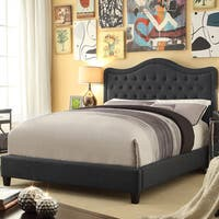 Moser Bay Furniture Adella Collection Charcoal Upholstered Queen BedQueen Size Linen Charcoal Waved Top Upholstery Platform Bed