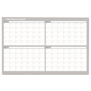 MasterVision 48 x 36 White/ Silver 4 Month Planner