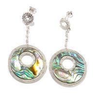 Sterling Silver Abalone & White Topaz Dangling Earring