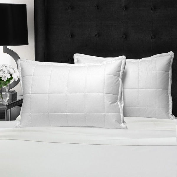 Swiss Comforts Quilted Cotton Loft Down Alternative Pillow - White