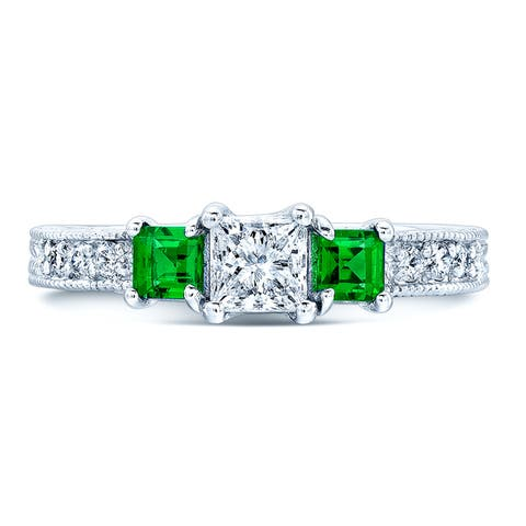 Estie G 14k White Gold 1/8ct TDW Diamond and Tsavorite 3-stone Ring (H-I, I1-I2) (Size 7)