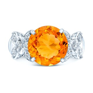 Estie G 14k White Gold Citrine and 1/3ct TDW Diamond Ring (H-I, SI1-SI2) (Size 7)