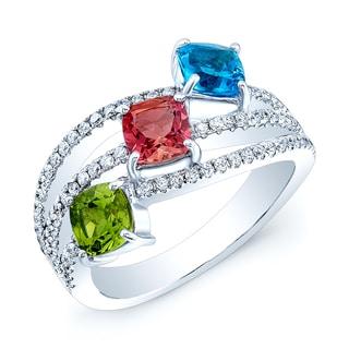 Estie G 14k White Gold Multi-gemstone and 2/5ct TDW Diamond Ring (H-I, SI1-SI2) (Size 7)