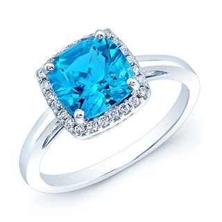 Estie G 14k White Gold Blue Topaz and 1/6ct TDW Diamond Ring (H-I, VS1-VS2) (Size 7)