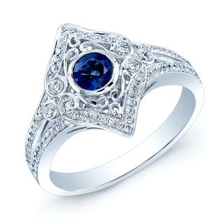 Estie G 14k White Gold Blue Sapphire and 1/3ct TDW Diamond Ring (H-I, VS1-VS2) (Size 7)