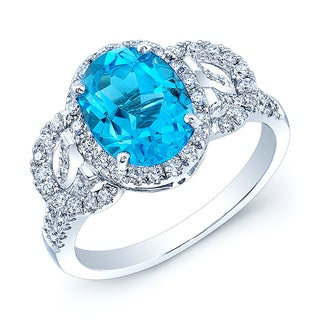 Estie G 14k White Gold Round Halo Blue Topaz and 1/2ct TDW Diamond Ring (H-I, VS1-VS2) (Size 7)