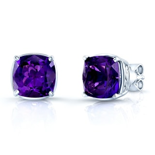 Estie G 14k White Gold Amethyst Square Stud Earrings
