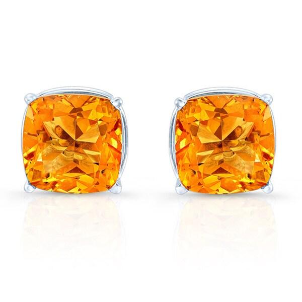 Estie G 14k White Gold Yellow Citrine Stud Earrings