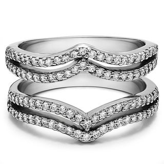 TwoBirch Sterling Silver 1/2ct TDW Diamond Double-row Chevron-style Ring Guard