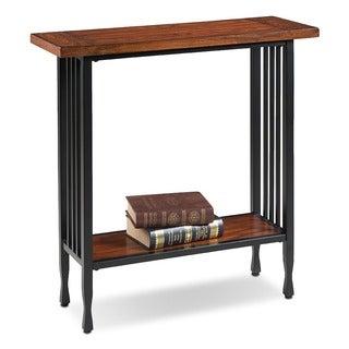 Matte Black Slatted Metal Base Condo/ Apartment Burnished Mission Oak Hall Stand