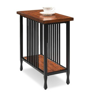Matte Black Slatted Metal Base Condo/ Apartment Burnished Mission Oak Narrow Chairside Table