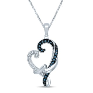 Unending Love Sterling Silver 1/3ct TDW Blue and White Diamond Milgrain Loving Arms Heart Necklace (I-J, I2-I3)