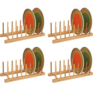 Plate Holder - For 8 Plates Made From Natural Bamboo - Set of 4 - by Trademark Innovations