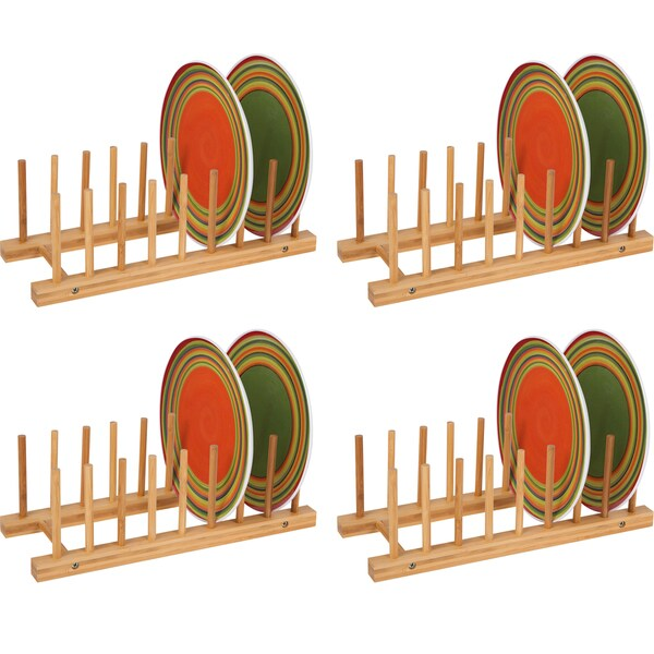 Plate Holder - For 8 Plates Made From Natural Bamboo - Set of 4 - by  sc 1 st  Overstock.com & Plate Holder - For 8 Plates Made From Natural Bamboo - Set of 4 - by ...
