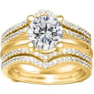 10k Gold 1/2ct TDW Diamond Double-row Chevron-style Ring Guard (G-H, I2-I3)