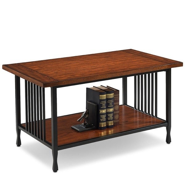 Matte Black Slatted Metal Base Condo/ Apartment Burnished Mission Oak Coffee  Table