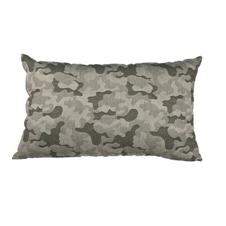 Green Camo Jacquard Indoor/Outdoor 20-inch Throw Pillow