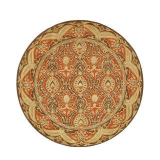EORC Hand-tufted Wool Red Twisted Rust Khyber Rug (6' Round)