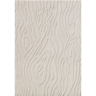 Alliyah Handmade White Cap, Grey Hi/ Low New Zealand Blend Wool Rug (5' x 8')