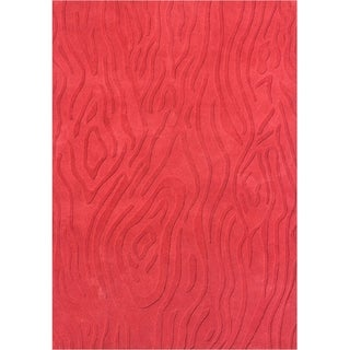 Alliyah Handmade New Zealand Blend Wool Red Hi/ Low Rug (5' x 8')