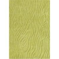 Alliyah Handmade Lime Green Hi/ Low New Zealand Blend Wool Rug (5' x 8')