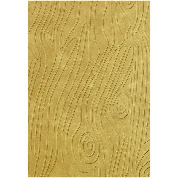 Alliyah Handmade New Zealand Blend Wool Pale Gold Hi/ Low Rug