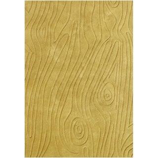 Alliyah Handmade New Zealand Blend Wool Pale Gold Hi/ Low Rug (5' x 8')