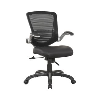 Manhattan Comfort Ergonomic Walden Office Chair in Black PU Leather (Set of 2)