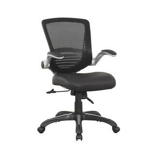 Manhattan Comfort Ergonomic Walden Office Chair in Black PU Leather (Set of 2)